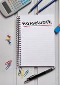 Homework word on notebook — Stock Photo