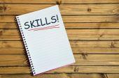 Skills word on notebook — Stock Photo