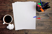Empty paper with coffee cup — Stock Photo