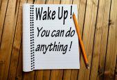 Ξυπνήστε σας μπορεί να κάνει τίποτα λέξη — Φωτογραφία Αρχείου