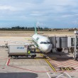 ALITALIA airplane parked at terminal. loading and maintenance operations before to flight — Stock Photo #62446403