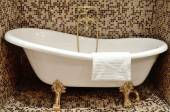 White bath beautiful form with gilt legs and mixer for making of water procedures - Interior of a bathroom in retro style. — Stockfoto