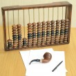 Abacus arithmetical old for accountants, sheets of paper, a pen and a pipe for of tobacco smoking in still life — Stockfoto #64851789