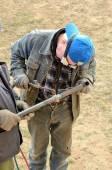 男焊工焊接机 — 图库照片