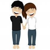 A happy couple smiling — Stock Vector