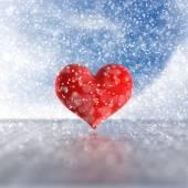 在雪中的心. — 图库照片