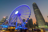 Hong Kong Ferris Wheel with IFC building — Stock Photo
