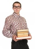 Nerd with glasses and a book in hand — Stock Photo