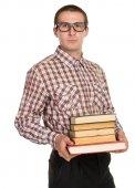 Nörd med glasögon och en bok i handen — Stockfoto
