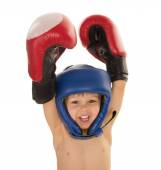 Little boy in boxing gloves and helmet — Stock Photo