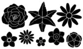 Set of silhouettes of flowers — Stock Vector
