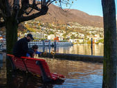 Locarno, lakeside flooded — Stock Photo