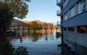 Locarno, streets flooded — Stock fotografie