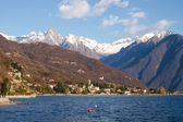 Lake Como, Italy. Panorama of the lake and mountains from Gera L — Stock Photo
