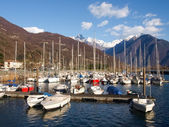 Boats moored in the harbor — Stock Photo