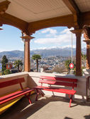 Benches Waiting at the station of the funicular Lugano — Stock Photo
