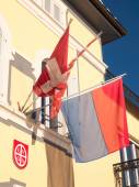 View of the facade sunlight with flags — Stock Photo
