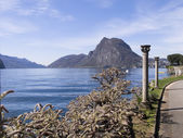 Lugano, antik sütunlar — Stok fotoğraf