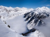 Beautiful sunny day and the snow in the Italian Switzerland. Air — Stock Photo