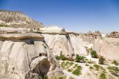 Cappadocia, Turkey. Top view of the picturesque pillars of weathering in the Valley of the Monks (Valley Pashabag) — Stock Photo