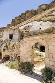 "Turkey, Urgup. Ruins of the old facades in the ""cave town"" on the rocks — Stock Photo"