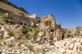 Turkey, Urgup. Ruins of the facades in the old  'cave town' — Stock Photo