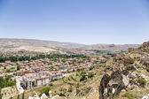 Turkey, Urgup. View of the modern city from the old town, perched on a cliff — Stock Photo