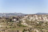 Cappadocia, Turkey. Mountain landscape around Urgup with a bird's-eye view — Stock Photo