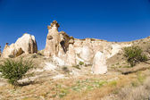 Cappadocia, Turkey. Part of the ancient cave town in the picturesque cliffs around Cavusin — Stock Photo