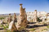 "Cappadocia, Turkey. Stone ""mushrooms"" (pillars of weathering, buttes, outcrops) around Cavusin — Stock Photo"
