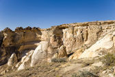 Turkey, Cappadocia. Rocks around Cavusin with carved caves in them — Stock Photo