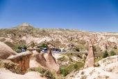 CAPPADOCIA, TURKEY - JUN 25, 2014: Photo of beautiful landscape with pillars of weathering in the Devrent  Valley — Stock Photo