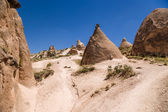 Turkey, Cappadocia. Beautiful mountain landscape with pillars of weathering in the Devrent  Valley — Stock Photo