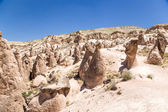 Turkey, Cappadocia. Landscape with pillars of weathering (rock outcrops) in the Devrent Valley — Stock Photo