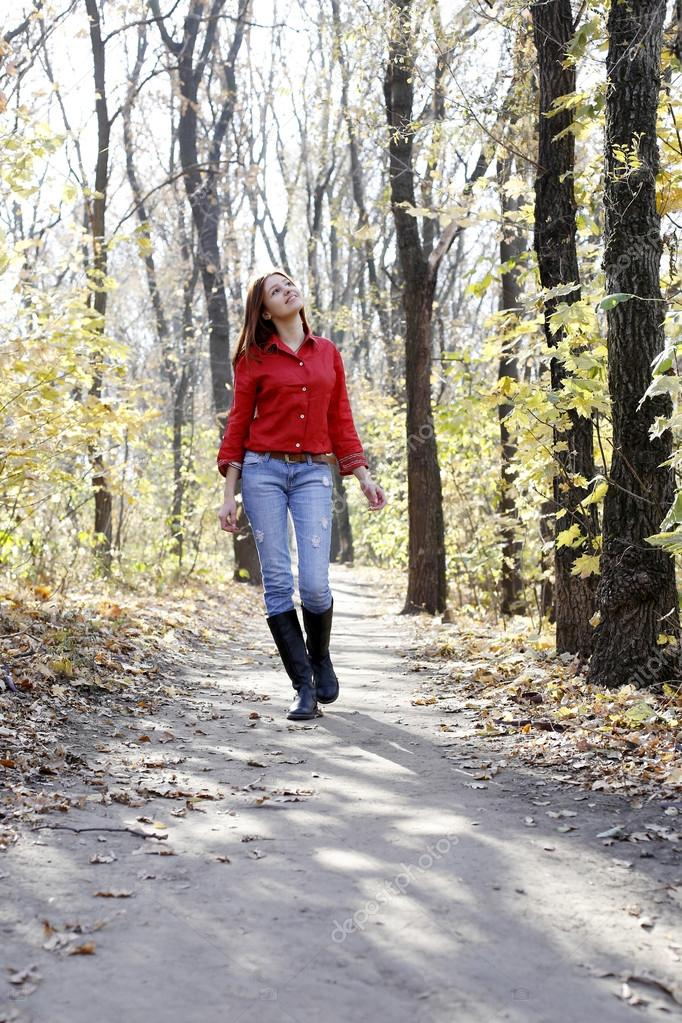 Beautiful Girl Walking On The Road Stock Images - Image: 8981324