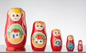 Russian dolls line up. — Stock Photo