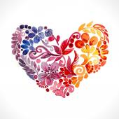 Heart made of watercolor flowers — Stock Vector