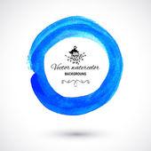 Bright blue watercolor circle — Stok Vektör