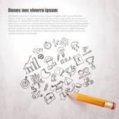 Iconos de negocios dibujados a lápiz — Vector de stock