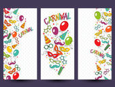 Festive page with carnival icons and objects — Stock Vector