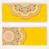 Set of Beautiful Indian ornament banners — Stock Vector