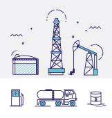 Oil, energy icons set — Stock Vector