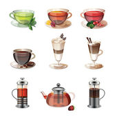 Set of icons of coffee, tea and sweets — Stock Vector
