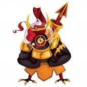 Black cock in golden armor — Stock Vector