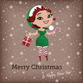 Christmas card with cute elf — Stock Vector