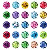 Set of 25 icons colored gemstones — Stock Vector
