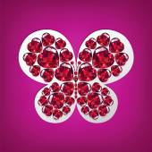 Bright butterfly of rubies heart-shaped — Stock Vector