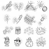 Pyrotechnic set of doodle icons, line art — Stock Vector