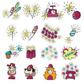 Pyrotechnic doodle icons set — Stock Vector