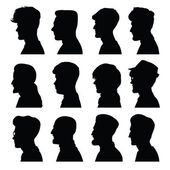 Men's profiles with different hairstyles — Stock Vector